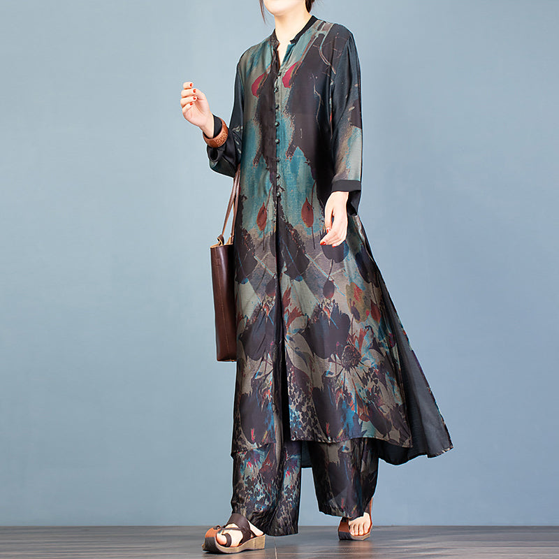 Retro Printed Silky Two Piece Suit