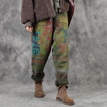 Retro Printed Warm Cotton-padded Harem Pants
