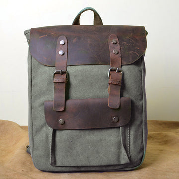 Retro Pure Color Canvas Square Backpack