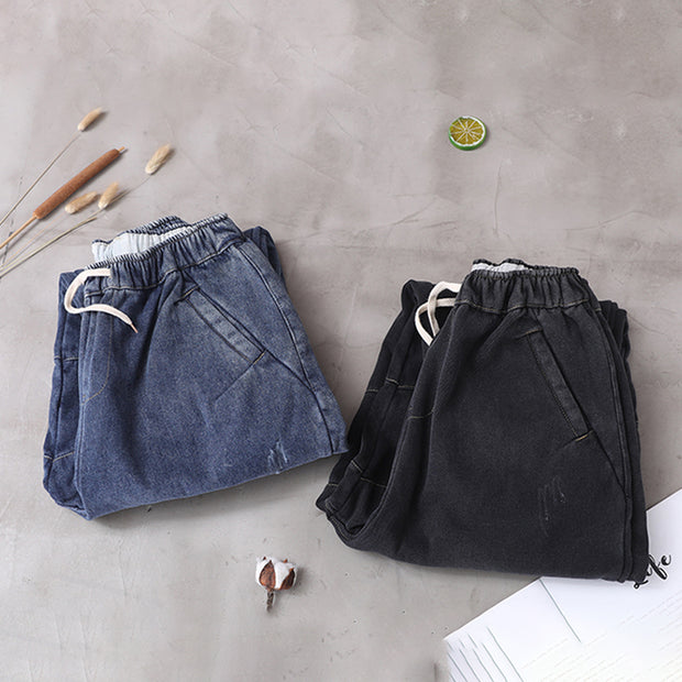 Retro Pure Color Drawstring Warm Harem Jeans