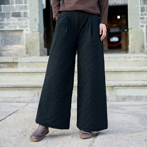 Retro Pure Color Warm Wide Leg Pants