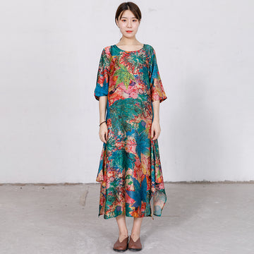 Retro Round Neck Print Irregular Dress