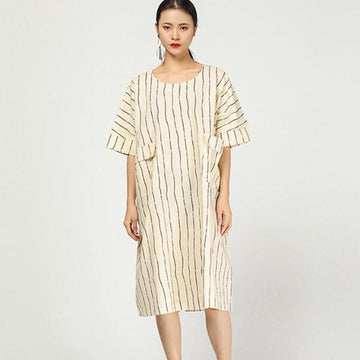 Retro Round Neck Stripe Loose Pocket Dress