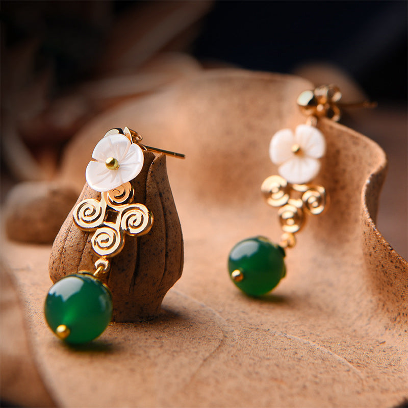 Retro Shell Flower Agate Alloy Earrings