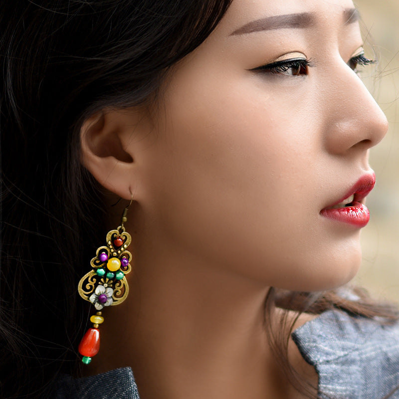 Retro Shell Flower Hollow Out Alloy Earrings