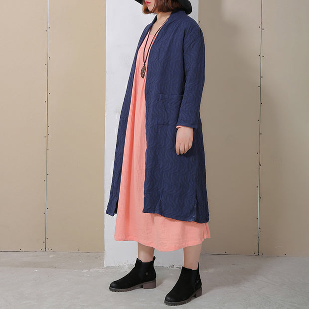 Retro Side Slit Long Sleeve Plain Cardigan Coat