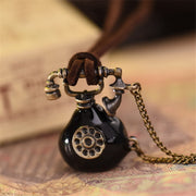 Retro Simulated Small Telephone Pendant Long Necklace