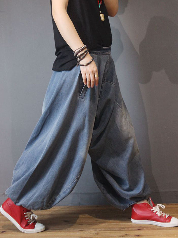 Retro Solid Color Denim Bloom Pants