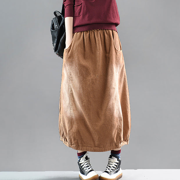 Retro Solid Color Elastic Waist Warm Skirt