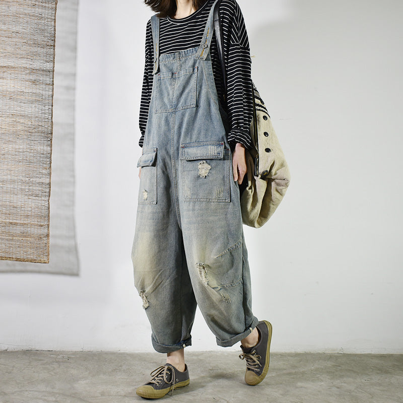 Retro Solid Color Hole Distressed Jumpsuit