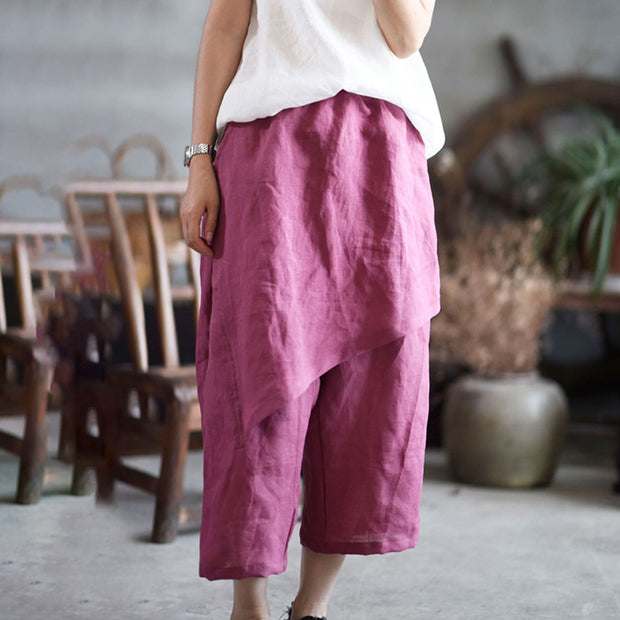 Retro Solid Color Loose Comfortable Culottes