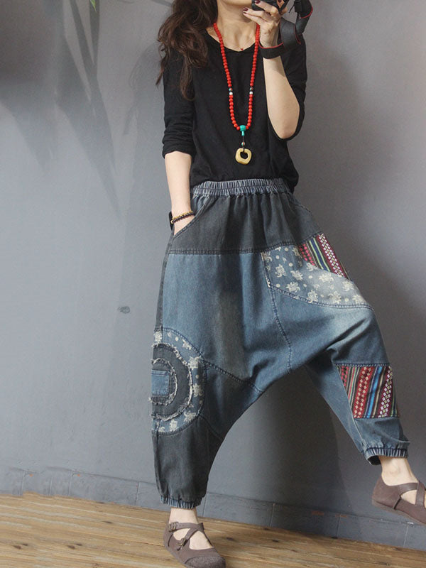 Retro Splicing Patchwork Low-crotch Jeans