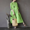 Retro Stand Collar Linen Chinese Frog Button Dress