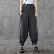 Retro Stripe Loose Linen Turnip Pants