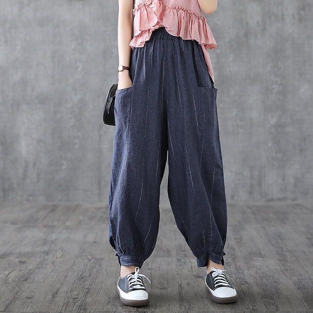 Retro Stripe Loose Linen Harem Pants