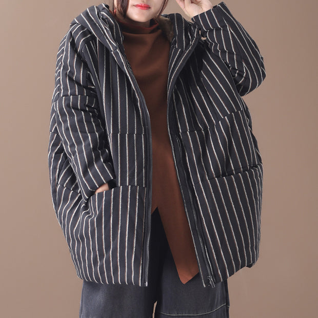 Retro Stripe Warm Thick Hooded Coat