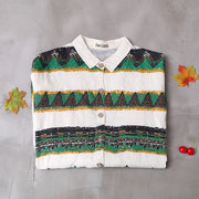 Retro Striped Pattern Raglan Sleeve Casual Shirt