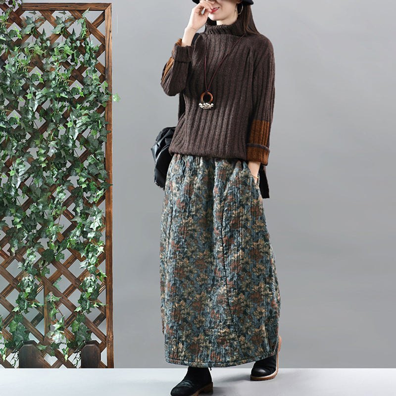 Retro Thermal Floral A-line Skirt