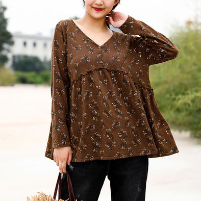 Retro V-neck Floral Print Female Blouse