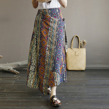 Irregular Retro Cotton Linen Prints Lacing Skirt