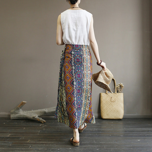 Retro Washed Cotton Linen Print Skirt