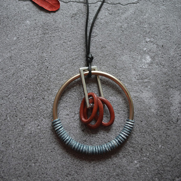 Retro Wax Rope Chain Ring Necklace