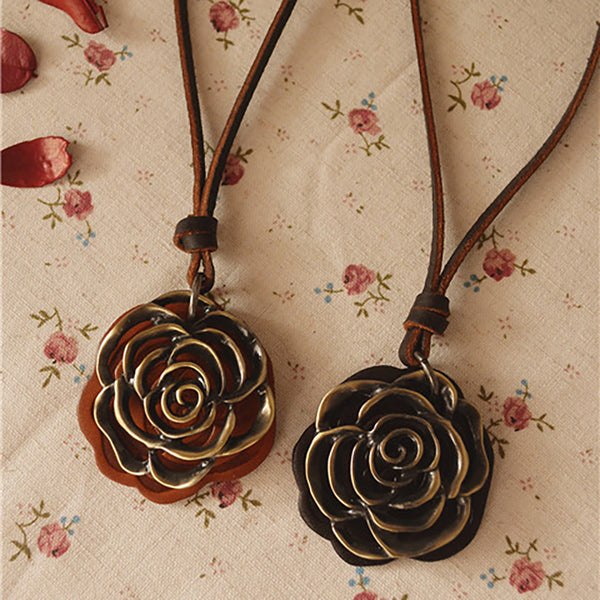 Retro Women Rose Leather Rope Necklace