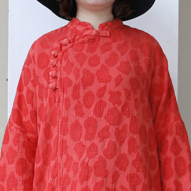 Retro Women Stand Collar Long Sleeve Vintage Dress