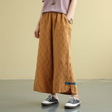Rhombic Printed High Waist Casual Wide Leg Pants