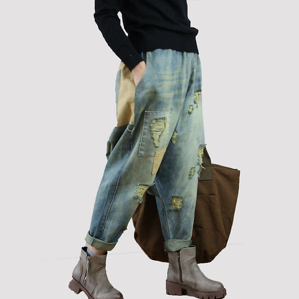 Ripped Denim Jeans Drop Crotch Pants Women