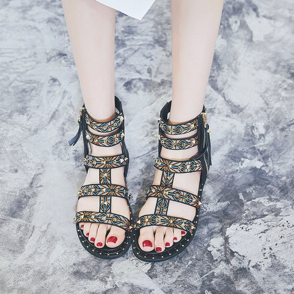 Roman Style Comfortable Leather Delicate Webbing Sandals