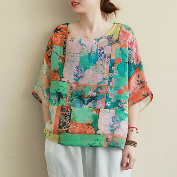 Round Collar Half Sleeve Printed Summer Ramie T-shirt