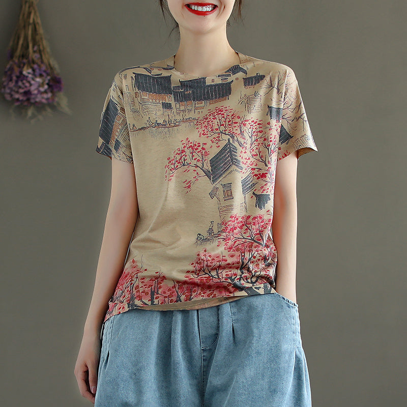 Plus Size - O-neck Printed Short Sleeve Knitted T-shirt