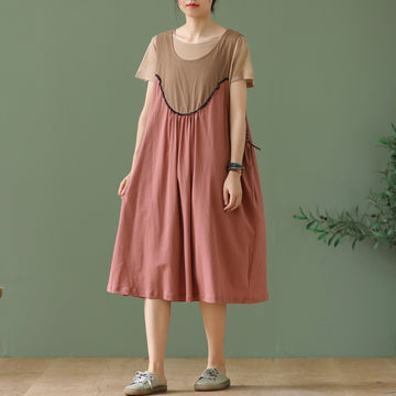 Round Neck T-shirt and Sleeveless Splicing Dress