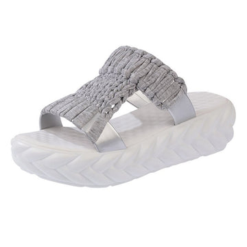 Round Toe Pure Color Casual Knitted Slippers