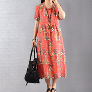 Round Collar Floral Print Soft Comfortable Dress
