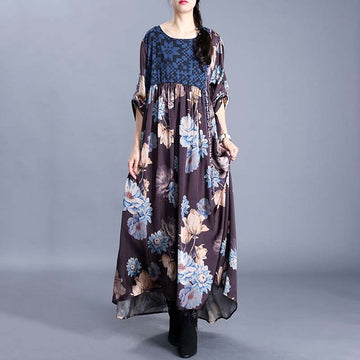 Round Collar Flower Printed Splicing Dress
