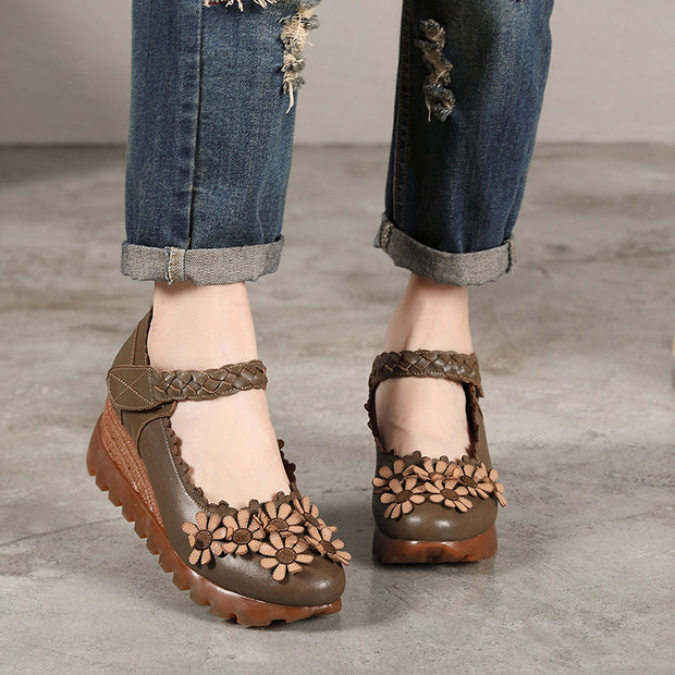 Round Head Leather Floral Wedges Women's Shoes