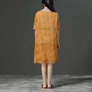 Round Neck Commuter Yellow Summer Dress