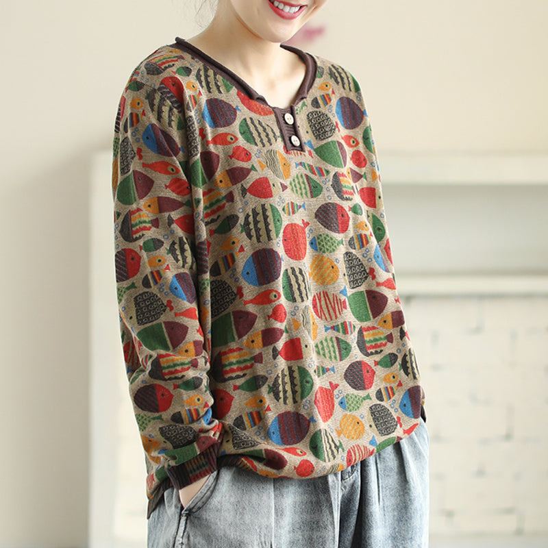 Round Neck Fish Print Knitted Shirt