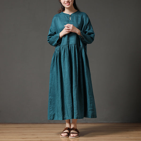 Round Neck Hollow Cotton Linen Green Loose Women Dress