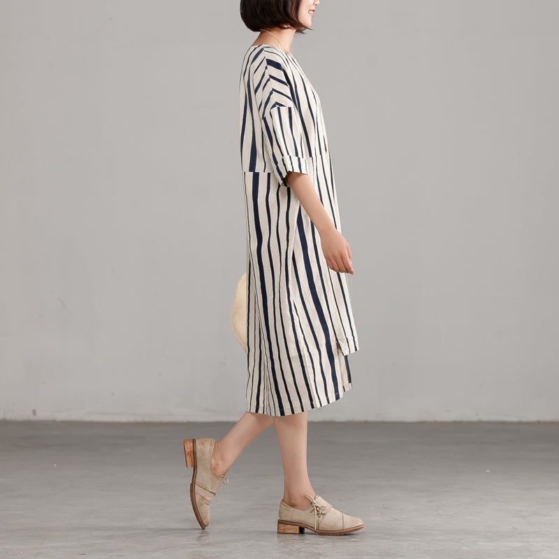 Round Neck Linen Cotton Stripe Loose Dress