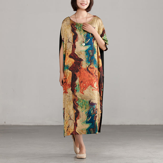 Round Neck Loose Commuter Printing Long Dress