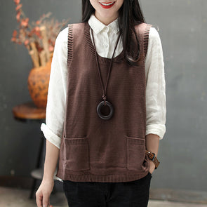 Round Neck Sleeveless Pockets Casual Knitting Sweater