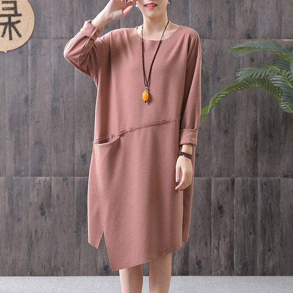 Round Neck Solid Color Spring Cotton Dress
