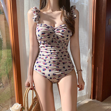 Ruffle Printed Retro Underwire Swimsuit