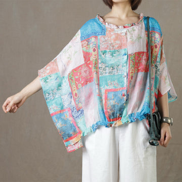 Ruffle Prints Summer Ramie Blouse
