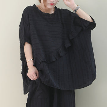 Ruffle Stitching Bat Sleeve Cotton T-shirt