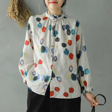 Ruffle Casual Single Breasted Dots Printed Shirt