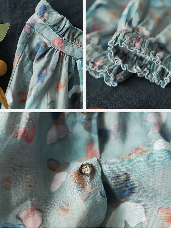 Ruffle Collar Butterfly Printed Casual Linen Shirt